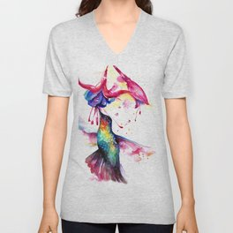Rainbow Hummingbird in Flowers with Nectar Unisex V-Neck