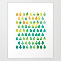 rain Art Prints featuring Monsoon Rain by Picomodi