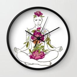beautiful woman doing yoga meditation Wall Clock