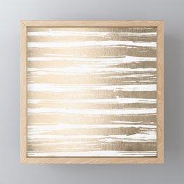 White Gold Sands Painted Stripes Framed Mini Art Print