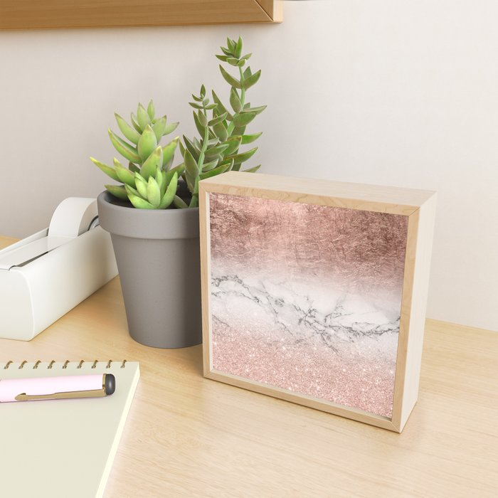 Modern faux rose gold glitter and foil ombre gradient on white marble color block Framed Mini Art Print