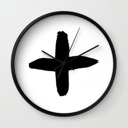 black and white plus sign Wall Clock