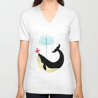 cup V-neck T-shirts featuring The Bird and The Whale by Oliver Lake