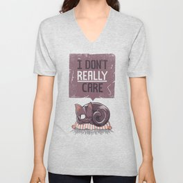 I Dont Care Cat Unisex V-Neck