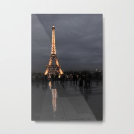 Eiffel Tower With Night Lights Metal Print