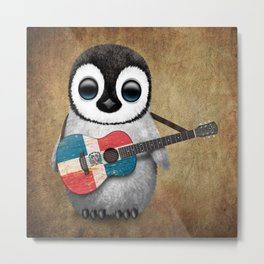 Baby Penguin Playing Dominican Flag Acoustic Guitar Metal Print