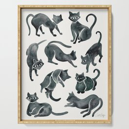 Cat Positions – Black Palette Serving Tray