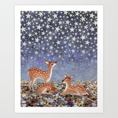 whitetail fawns under the stars Art Print