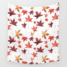 Dead Leaves over White Wall Tapestry