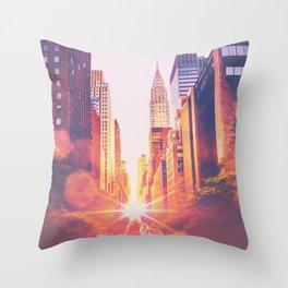 New York City Bokeh Sunset Throw Pillow