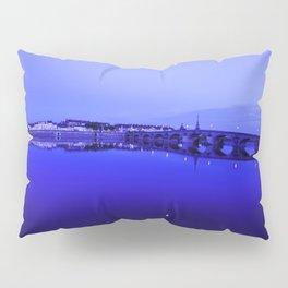 France landscape, Amboise, Loire valley, dusk, reflection, river, blue Pillow Sham