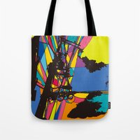 the wire Tote Bags featuring wire by PINT GRAPHICS