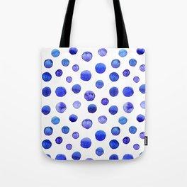 Blue polka dot watercolor pattern Tote Bag