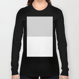 White and Light Gray Horizontal Halves Long Sleeve T-shirt