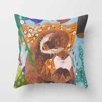 "otters Throw Pillows featuring ""If Klimt Painted Otters"" Transformation Project Final Transformation by Janin Wise"