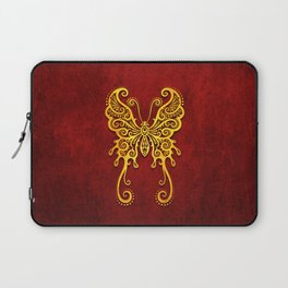 Intricate Red and Yellow Vintage Tribal Butterfly Laptop Sleeve