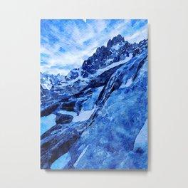 Watercolor Mer de Glace, Chamonix, France Metal Print