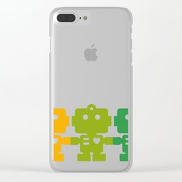 Rainbow Robots Holding Hands Clear iPhone Case