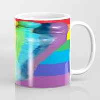 duvet cover Mugs featuring RAINBOW COLORS DUVET COVER by aztosaha
