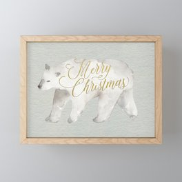 Watercolor Polar Bear Merry Christmas Modern Brush Script Greeting Card Framed Mini Art Print