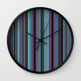 Retro Stripe in Blueberries and Orchids Wall Clock