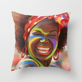 Life's a Carnival (Carnaval de Barranquilla) - Negrita Puloy Impressionism - Magical Realism Throw Pillow