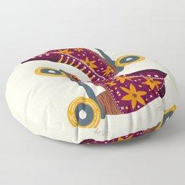 Retro Roller Skates – Fuchsia & Orange Floor Pillow