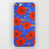poppies iPhone & iPod Skins featuring POPPIES by Teresa Chipperfield Studios