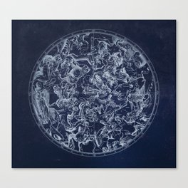 Vintage Constellations & Astrological Signs | White Canvas Print