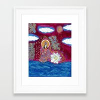 budi satria kwan Framed Art Prints featuring Offerings-Kwan Yin by J. Lashua Art