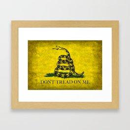 Gadsden Don't Tread On Me Flag - Worn Grungy Framed Art Print