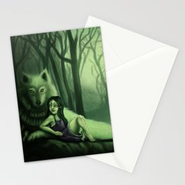 lil Mortcia and wolf Stationery Cards