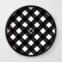Contemporary Black & White Tilt Gingham Pattern - Mix & Match With Simplicty Of Life Wall Clock