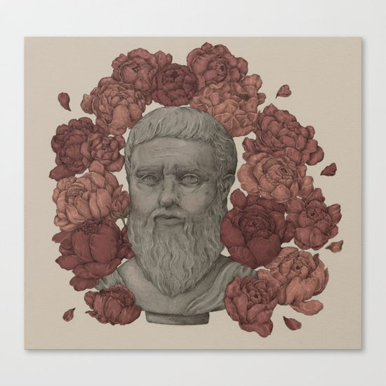 Plato in the Peonies Canvas Print