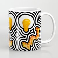 bacon Mugs featuring Bacon & Eggs by Tyler Spangler