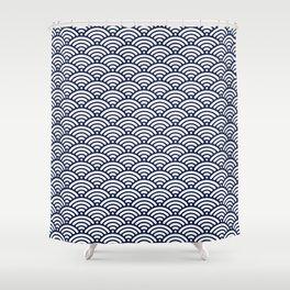 Navy Blue Seigaiha Wave Minimal Shower Curtain