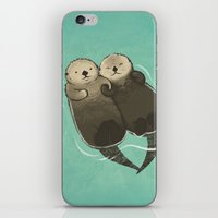 otters iPhone & iPod Skins featuring Significant Otters - Otters Holding Hands by StudioMarimo