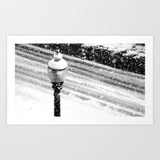 Lightpost in the snow storm. Art Print