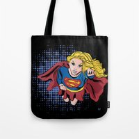 supergirl Tote Bags featuring Supergirl by Waterflybooks