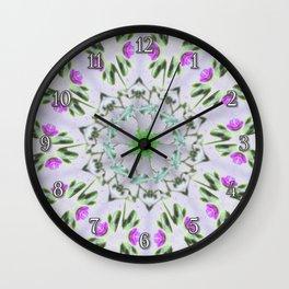 Purple Wildflower Kaleidoscope Art 7 Wall Clock