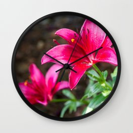 Hot Pink Flowers Wall Clock