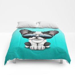 Cute French Bulldog Puppy Wearing Sunglasses Comforters