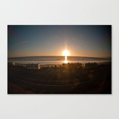 sunset on a train Canvas Print