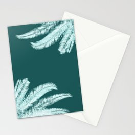 Palm leaves silhouettes on teal Stationery Cards