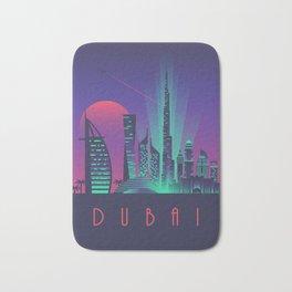Dubai City Skyline Retro Art Deco Tourism - Night Bath Mat