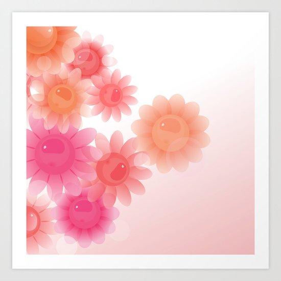 Light pink and orange flowers Art Print