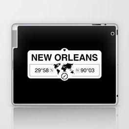 New OrleansLouisiana Map GPS Coordinates Artwork Laptop & iPad Skin