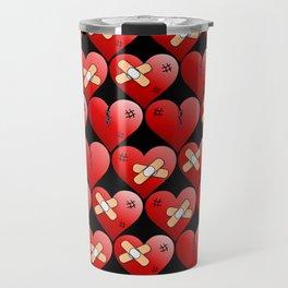 broken heart pattern black Travel Mug
