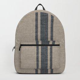 Farmhouse linen grey rustic grain sack texture vintage farmhouse lined linen design modern rustic Backpack