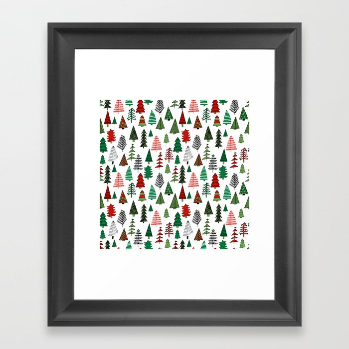 Scandi Christmas Tree Drawing.Christmas Tree Forest Minimal Scandi Patterned Holiday Forest Winter Framed Art Print By Andrealaurendesign